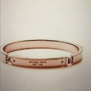 Michael Kors heritage plaque rose gold bracelet